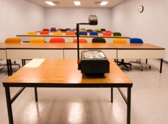 An overhead projector in a classroom.