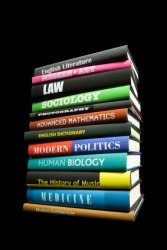 Textbooks on various subjects.