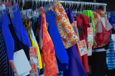 Clothing offered at bargain basement prices.