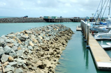 A breakwall at a marina.