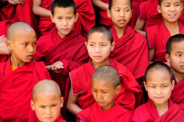 A community of young Buddhist monks.