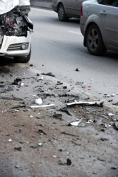 Debris in the road after a car crash.