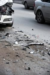 Debris in the road after a car crash.