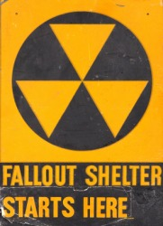 A sign for a fallout shelter.