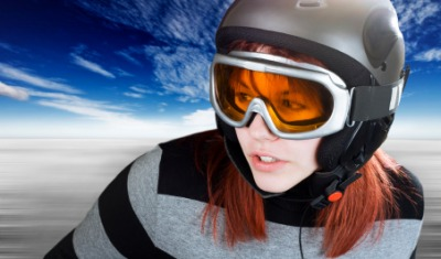 A woman wearing a pair of goggles.