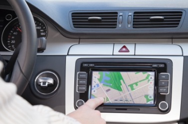 GPS navigation in a car.