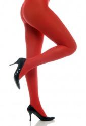 A woman wearing red hosen.