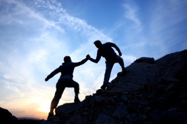 Helping a fellow climbing up the rock is a kindness.