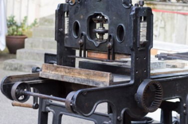 A press for lithography.