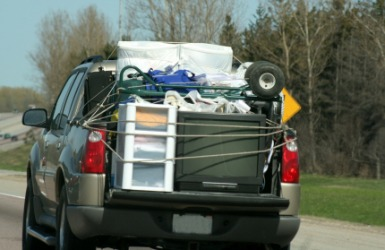 A truck carrying a full load.