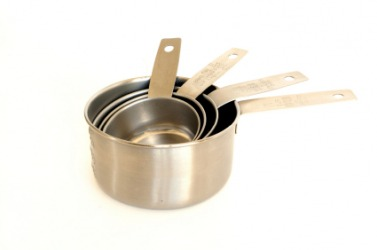 A set of metal measuring cups.