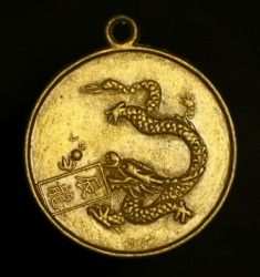 A dragon image on a medallion.