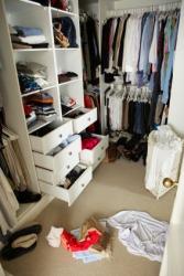 A very messy closet.
