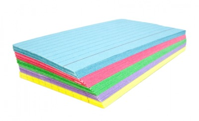 A stack of colored notecards.