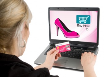 A woman engaged in online shopping.