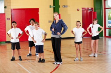 Students in a physical education class.