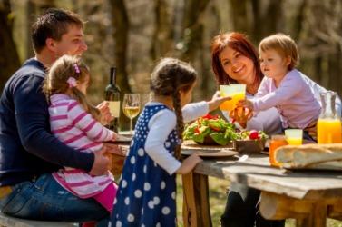 A family enjoying a picnic.