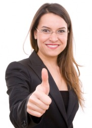A woman gives the thumbs-up sign.