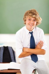 An adolescent in class.