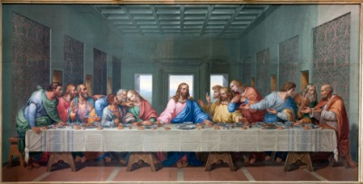 A painting of Jesus with his apostles.