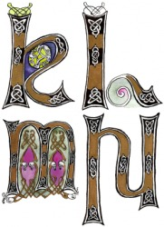 Celtic style illuminated letters.