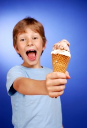 You can excite a child by offering him ice cream.