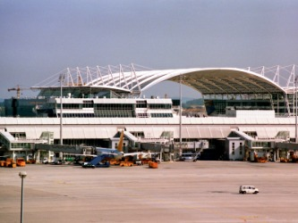 The terminal of a modern airport.