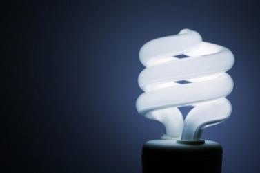 A compact fluorescent light bulb.