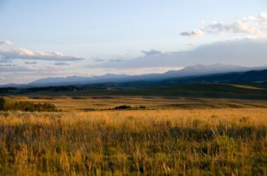 Sunset over the grasslands.