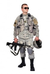 This soldier is part of the United States infantry.