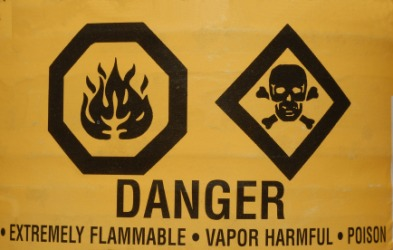 A sign warning of things that might be lethal.