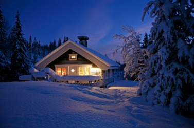A snowbound ski lodge.