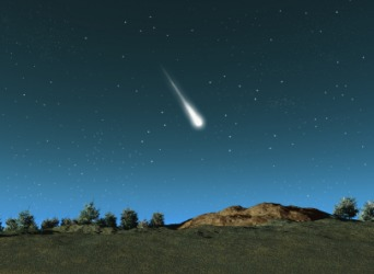 A meteor in the sky.