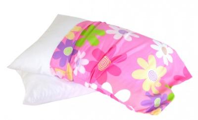 A bright colored pillowcase.