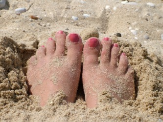 Toes in the sand.