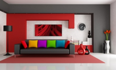 A room decorated with vibrant colors.