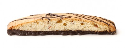 A piece of biscotti with a chocolate layer.