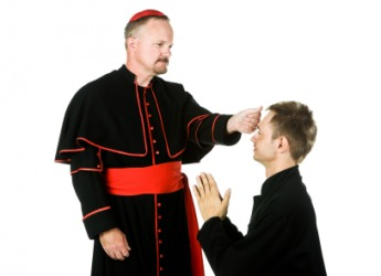 A bishop gives a blessing.