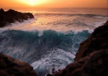 The movement of a tsunami can be described as gadarene.