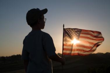 A patriotic little boy.