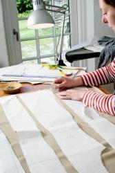 A dressmaker using a pattern.