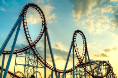 The loops of a roller coaster.