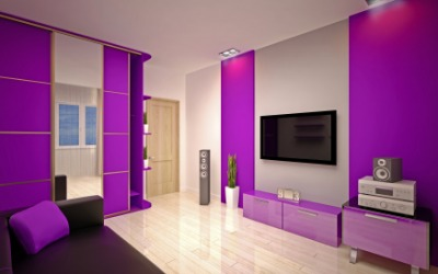 This room has a purple theme.