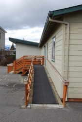 This wheelchair ramp is an adaptation to this house.