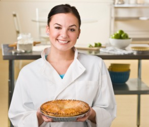A chef shows an example of a perfect pie.