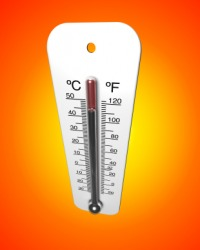 A thermometer measures temperature.