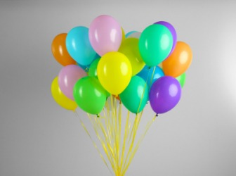 Helium is the gas making these balloons float.