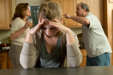 A girl is distressed by the conflict between her parents.