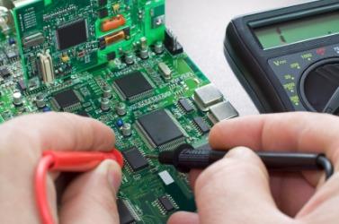 An electronics circuit board.