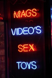 A sign for a porno shop.